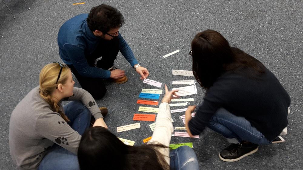 4 Teilnehmende sitzen auf dem Boden und sortieren Kärtchen.