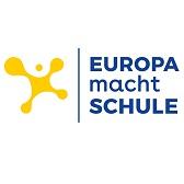 Europa macht Schule Logo. Links ein gelber Tintenklecks, rechts Europa macht Schule in blauer Schrift.