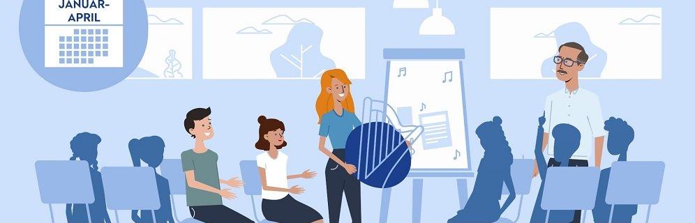Das Bild ist ein Screenshot aus dem Erklärvideo, auf dem Schüler in einem Stuhlkreis sitzen. Vorne steht die irische Gaststudierende vor einem Flipchart und hält eine Harfe in den Händen. Rechts von ihr steht der Lehrer. Die Schüler beteiligen sich aktiv. Mynd/DAAD