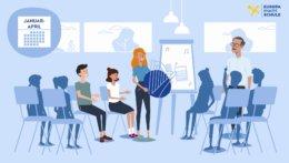 Das Bild ist ein Screenshot aus dem Erklärvideo, auf dem Schüler in einem Stuhlkreis sitzen. Vorne steht die irische Gaststudierende vor einem Flipchart und hält eine Harfe in den Händen. Rechts von ihr steht der Lehrer. Die Schüler beteiligen sich aktiv.