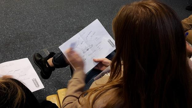 Eine Gaststudierende erstellt eine Mind-Map zu Russland. Links nebenan erkennt man verschiedene Stichpunkte zu einem anderen Land