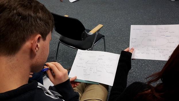 Ein junger Mann erstellt sich eine Mind-Map zu seinem Herkuftsland. Rechts daneben hält eine Gaststudierende ihre Mind-Map von Italien in die Kamera