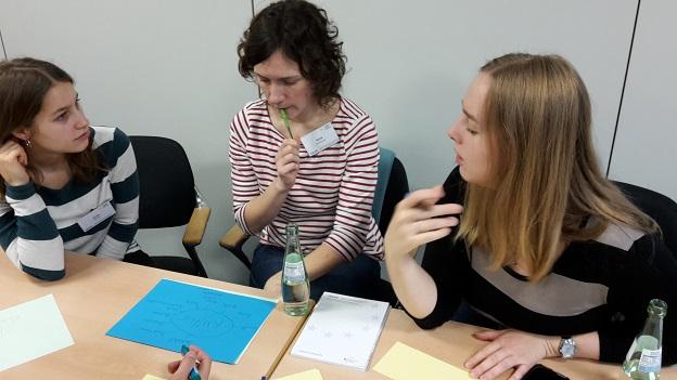 3 Gaststudierende sitzen gemeinsam am Tisch und erstellen eine Mind-Map zum Thema Kultur