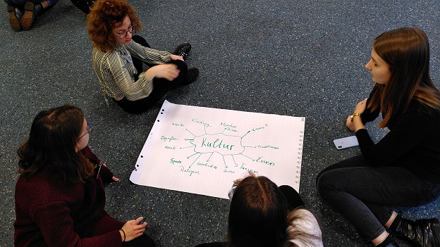 4 junge Frauen sitzen auf dem Boden um ein Plakat verteilt und erstellen eine Mind Map zu