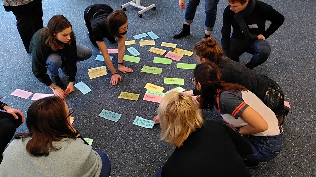 Die Teilnehmer/innen sortieren Moderationskarten die auf dem Boden verteilt sind.