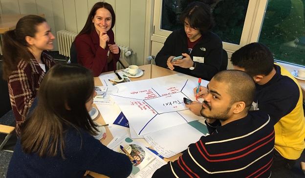 6 Teilnehmer/-innen sitzen an einem Tisch und geslaten gemeinsam ein Plakat zum Thema Türkei