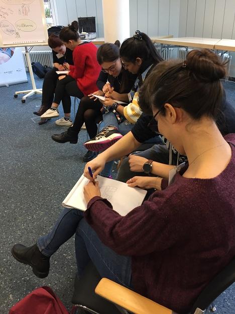 Die Teilnehmer/-innen sitzen päärchenweise zusammen und halten gemeinsam einen Stift mit dem sie ein Iglu zeichnen