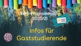 """Kreidetafel mit dem Text: """"Infos für Gaststudierende im EmS-Programmjahr 2020/21"""""""