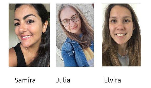 Porträtfotos von Samira, Julia und Elvira.