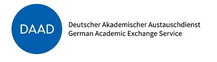 DAAD Logo. Links ist ein blauer Kreis, in welchem DAAD steht, daneben steht Deutscher Akademischer Austauschdienst auf Deutsch und Englisch.