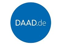 Großer blauer Kreis, in welchem DAAD.de steht