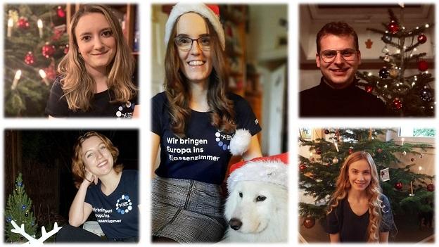 Fünf junge Studierende lächeln in die Kamera