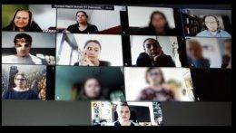 Gaststudierende, Lehrkräfte und das Standort-Team Hannover treffen sich online zum Koordinationstreffen