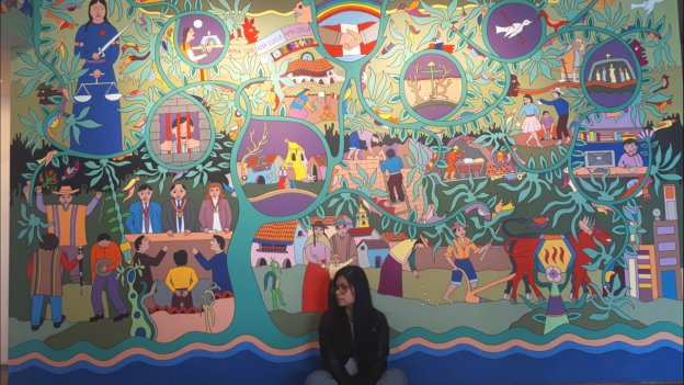 Foto einer peruanischen Gaststudentin die vor einer bemalten Wand sitzt.
