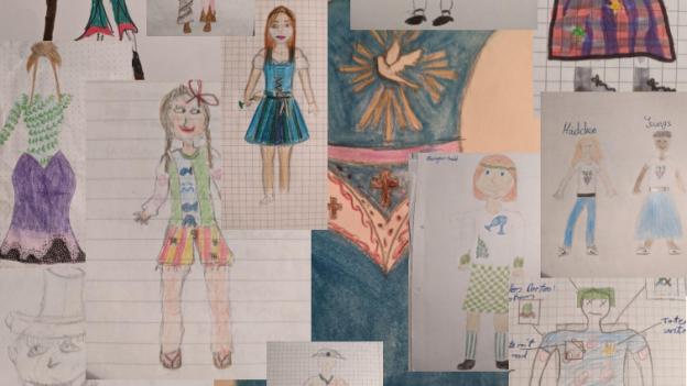 Collage von Schülerzeichnungen selbst ausgedachter Trachten und ihre Merkmale